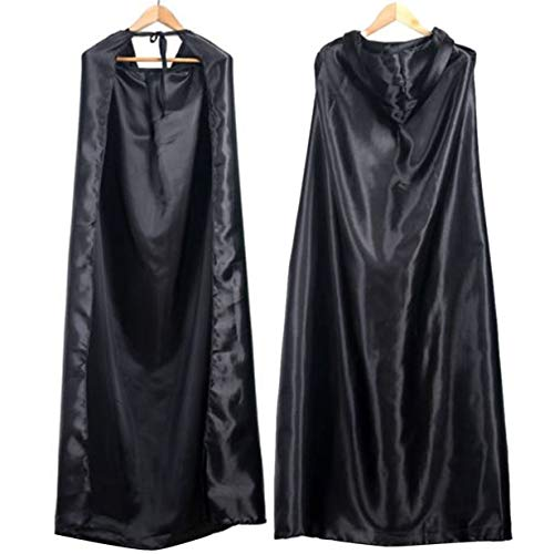 (UniqueHeart Schwarz Halloween Kostüm Theater Prop Tod Hoody Mantel Teufel Long Tippet Cape für Halloween Kostümfest)