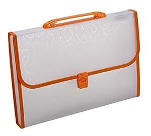 TRIO EW12FHL Expanding File Handle & Lock – 13 Pockets F/C Orange