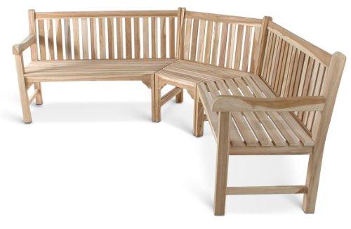 SAM Gartenbank, Eckbank, Sitzbank aus Teak-Holz 210 x 210 cm, Massivholz, für 6 Personen, für Balkon, Terrasse oder Garten [521311]