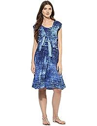 Mine4nine Women's Geomatric Print knot front Dress