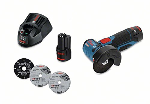 Bosch Professional Akku-Winkelschleifer GWS 12V-76 (2 x 3,0 Ah Akku, 12 V, Bohrungs-Ø: 10 mm, in L-Boxx)