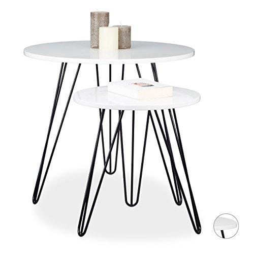 Relaxdays Beistelltisch Weiss 2er Set, Dreibeiner, Holz, Metall, HxD: 52 x 60 cm, Sofatisch, Wohnzimmer, glänzend