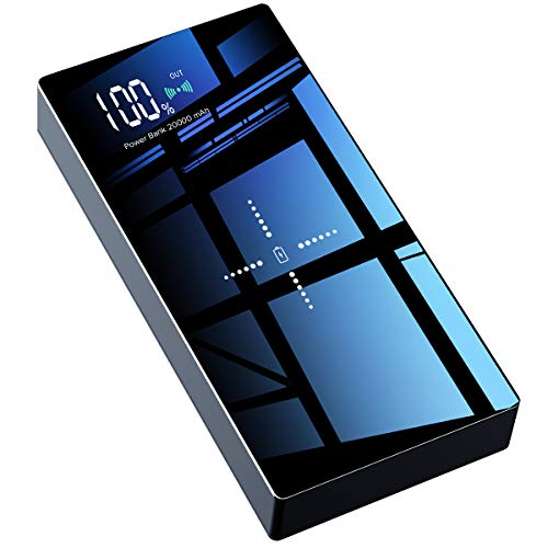 TOVAOON Wireless Powerbank,20000mAh Externer Akku Pack,Tragbares Ladegerät hohe Kapazität,mit LED-Digitalanzeige & die Hartglas Panel,für iPhone iPad Samsung Galaxy,usw(Schwarz) (20000mah Charger Iphone Portable)