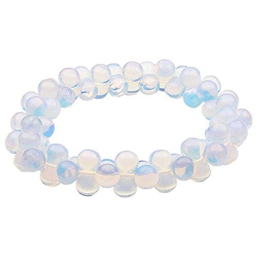 Damenarmband Armband aus Opalit - Mondstein dehnbar Armschmuck für Damen, DNA-Form