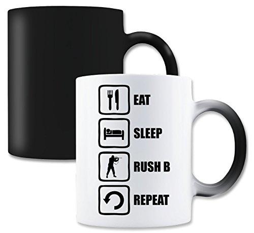 LukeTee Eat Sleep Rush B Repeat Funny Black Meme Graphic Magische Tee-Kaffeetasse