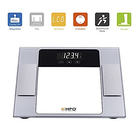 EMPO® Body Fat Bathroom Scale with Tempered Glass - LIFETIME WARRANTY - High Accuracy MemoryTrack Digital Scale - Extra-large LightOnDark digital display - Measure weight, body fat, hydration, muscle, bone mass, and daily demand of calories - Auto recognition technology of up to 10 personal profiles for shared use at home - Gift Wrap Available -
