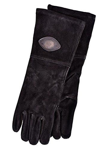 Mittelalterliche Lederhandschuhe Schwarz oder Braun Mittelalter Schaukampf Wikinger (S/8, Schwarz)