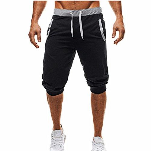 MODCHOK-Herren-Kurze-Jogging-Hose-Sweat-Shorts-Fitnesshose-Pants-Basic-Schwarz-XL