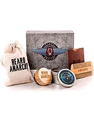 BEARD ANARCHY - Style without Limits, hochwertiges Bartpflege Set - Weihnachtsgeschenk für Männer. Bartkamm aus Birnbaumholz, runde Bartbürste mit Wildschweinborsten. Weihnachten Geschenk