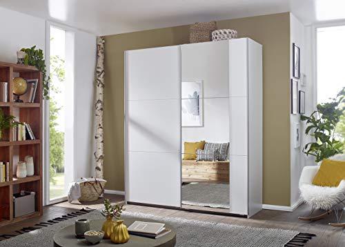 Rauch Kleiderschrank/Schwebetürenschrank Santiago 2-türig. Weiß Alpin mit Spiegel, 4 Einlegeböden, 2 Kleiderstangen, 1 Hakenleiste, BxHxT 175x210x59 cm -