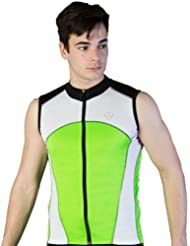 Deporteshera - Ropa ciclismo, Maillot Sin Mangas, Camiseta Ciclismo, Color Verde/Negro/Blanco
