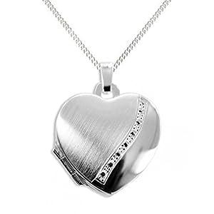 HausderHerzen.de Herz Medaillon925 Silberzum öffnen für Bildereinlage/ 2 Fotos+ Kette