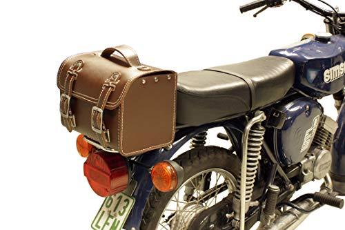 Leder Hecktasche mit Schnellverschluss Gepäckträger Tasche Packtasche Braun für Simson S50 S51 S70