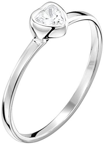 Jo for Girls-Ciondolo a forma di cuore con solitario di Zirconia cubica trasparente-Anello in argento Sterling, argento, 48 (15.3), cod. JR160cz-I