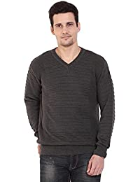 TAB91 Men's Cotton Rich Dark Grey Solid V Neck Pullover