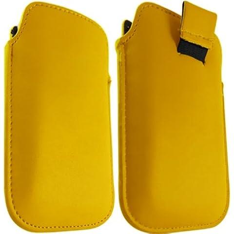 ONX3 Blackberry 9100 de la perla de cuero amarillo Tire de la lengüeta de protección Funda + LCD Protector de pantalla