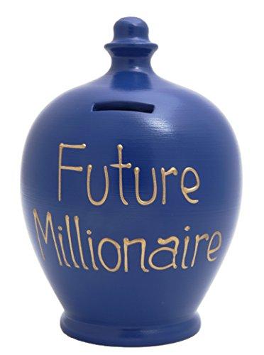 "Terramundi - Hucha de barro, diseño con texto en inglés ""Future Millionaire"", color azul con letras doradas"