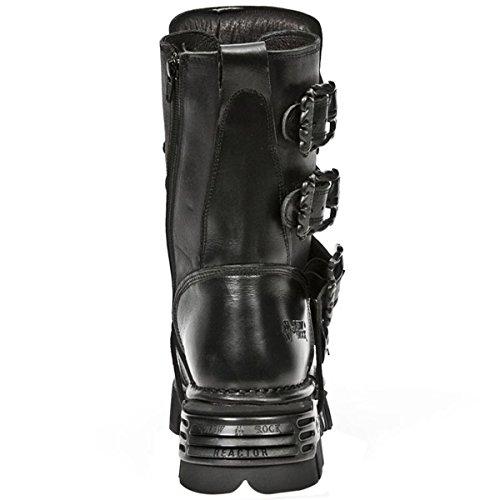 New Rock Metallic nero Pelle Stivali M.391-S18 Black