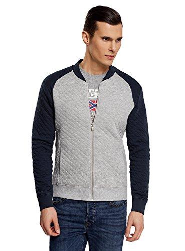 oodji Ultra Herren Jersey-Jacke aus Strukturiertem Stoff, Grau, DE 56 / XL