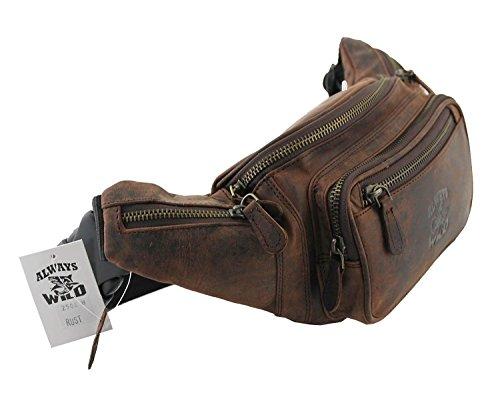 Gürtel-Tasche Echt Leder Hüfttasche Reise-Bauch-Handy-Tasche Herren Bag (Rust) (Leder Gürtel-tasche)