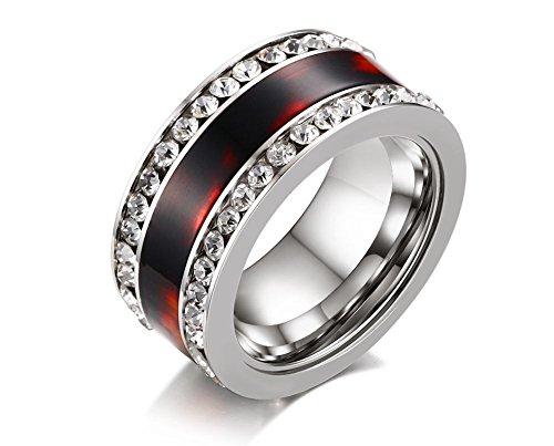 Vnox Frauen Edelstahl Zirkonia Tarnung Camo Hochzeit Verlobung Promise Ring Silber (Camo-diamant-ring Rosa)