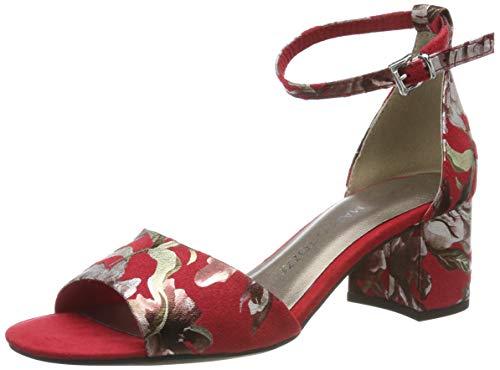 MARCO TOZZI 2-2-28316-22, Sandali con Cinturino alla Caviglia Donna, Rosso (Red Flower 577), 38 EU