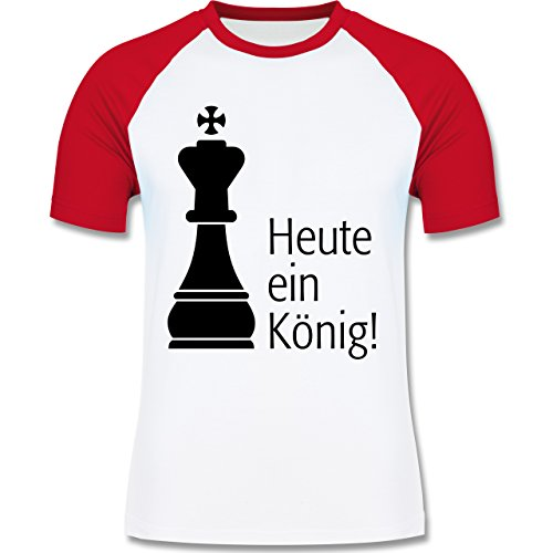JGA Junggesellenabschied - Heute ein König - zweifarbiges Baseballshirt für Männer Weiß/Rot