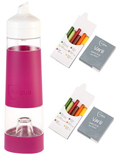 nuapua Trinkflasche 500 ml mit 12 Aromakapseln - bpa freies Trinksystem, Farbe: Cyclam