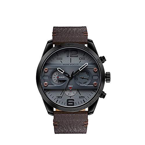 Herren Uhr Quarz Chronograph Männer Militär Chronographen Wasserdicht Sport Große Designer Leder Armbanduhren Mann Business Modisch Datum Grau Analoge Uhren