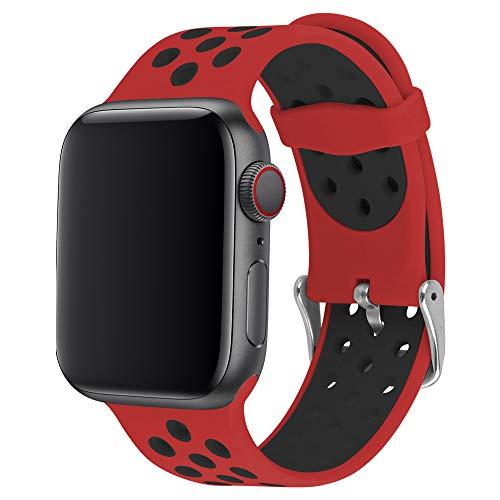 ANBEY für Watch Armband Silikon 44mm 38mm 42mm 40mm, Soft Silikon Ersatz Armbänder für Watch Serie 5 4 3 2 1,Rot und schwarz