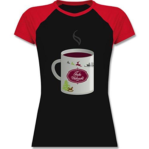 Weihnachten & Silvester - Glühwein Frohe Weihnachten - zweifarbiges Baseballshirt / Raglan T-Shirt für Damen Schwarz/Rot