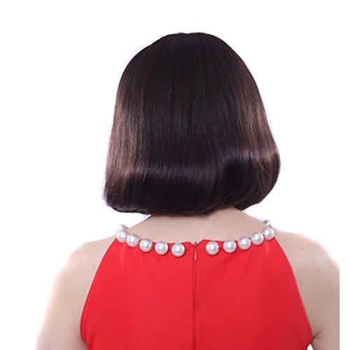 Farbe Menschlichen Haar Perücke (FELICIGG Bobo Kopf lockige Perücke für innere Birne Haar Seidenhaar realistische menschliche Perücke mit flachen Bangs Perücken Fuffy innere Birne Haarlänge 26cm (Farbe : Schwarz))