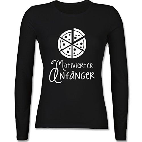 Küche - Motiverter Anfänger Pizza - tailliertes Longsleeve / langärmeliges T -Shirt für Damen Schwarz