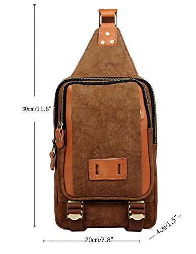 Menschwear Mode Outdoor Sports beiläufige Canvas Umhängetasche Sling Tasche Chest Pack Sling Rucksack für Männer herren Segeltuch Brusttasche Unbalance Blau Kaffee