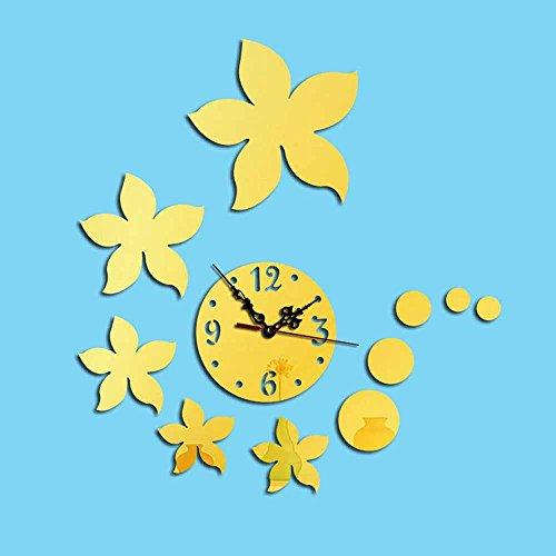 KHSKX Fünf Blütenblätter kreative Persönlichkeit spiegeln Wanduhr DIY, Acryl Sofa 3D Wand Aufkleber Wanduhr , (Goldene Ringe Kostüm 5)