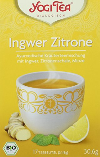 Yogi Tea Ingwer Zitrone Tee Bio, 3er Pack (3 x 30,6 g) (Zitronen-kräuter-tee)
