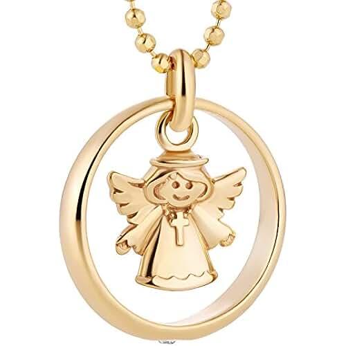 ideas regalos para comuniones kawaii Fish Cadena Plata 925Sterling para niño y niña, anillo para bautizo con elementos Swarovski claro ángel chapado en oro 38cm