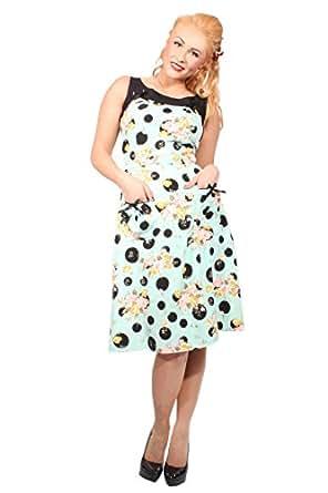 RETRO Rosen POLKA DOTS vintage Blumen Rockabilly A-Line Kleid mint