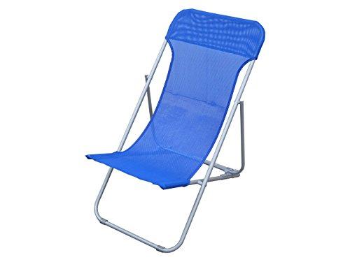 Sdraio beach in acciaio e textilene 450 gr/m² colore blu.