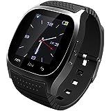 GENORTH M26 Bluetooth elegante reloj muñeca reloj teléfono adecuado para móvil(Todos funcionse) Android, para Iphone (funciones parciales) (negro)