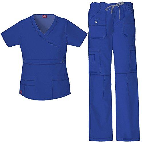 Scrub Top Hose (Gen Flex Frauen Mock Wrap Scrub Top & Straight Leg Scrub Hose Set XXX-Large Galaxy Blue)