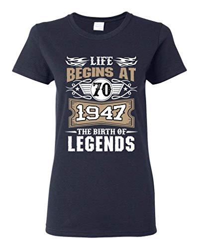 cab215b41c HOTdiy Ladies Life Begins At 70 1947 The Birth of Legends Myth Funny T-Shirt