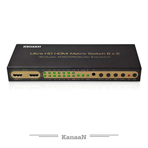 KanaaN Leicke 4K UltraHD HDMI 6x2 Matrix Switch | Fernbedienung | 5.1 Surround SPDIF Optisch + Stereo 3.5mm Klinke Audioausgang | Arc und Pip | FullHD, UHD, 4K, 4K*2K | HDMI 1.4 Standard | HDCP 2.0 720p Lcd-tv