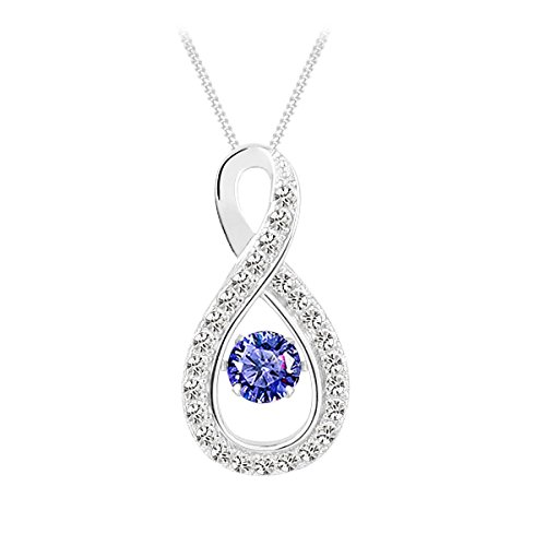 jiamiaoi 925 Sterling Silver Round Dancing Diamond Halo Pendant Necklace, Dancing Round Halo Necklace, 18''