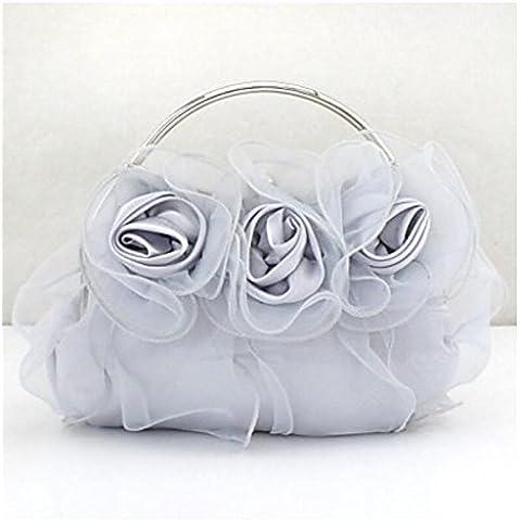 XSLhandbag Donna RasoSatin Matrimonio Borsa da sera Bianco Viola Nero Fucsia Tessuto almond Champagne , personalization