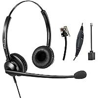 RJ9 telefono auricolare Binaural Call Center Cuffie con microfono a  cancellazione di rumore per i telefoni 44cf867c7ce3
