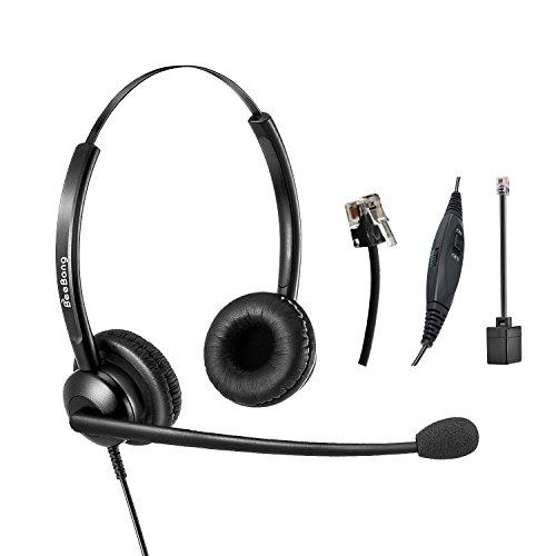 RJ9 auricular de teléfono Binaural Call Center Auriculares con cancelación  de ruido del micrófono para teléfonos 57ef4c2b41