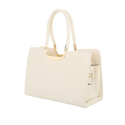 iTal-dEsiGn Damentasche Mittelgroße Schultertasche Handtasche Kunstleder TA-M981 Beige