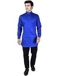 Veera Paridhaan Men's Solid Blue Cotton Kurta