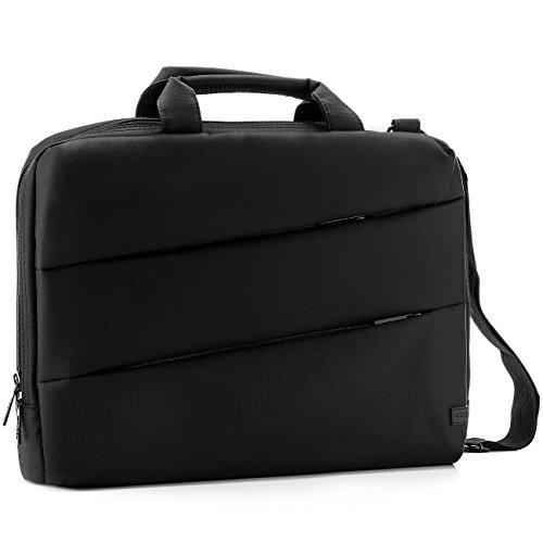 """deleyCON Notebooktasche für Notebook / Laptop bis 15,6"""" (39,6cm) - Tasche/Hülle aus robustem Polyester mit Zubehörfächern und verstärkten Polsterwänden - schwarz"""